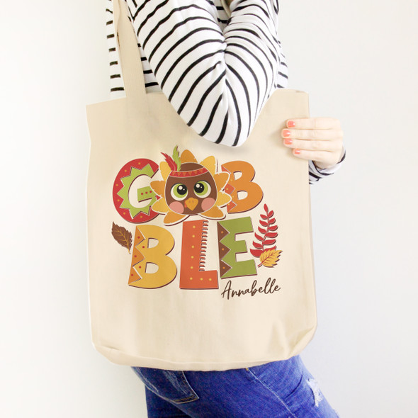 Thanksgiving turkey gobble personalized value or heavyweight tote bag
