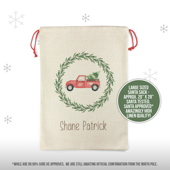 Christmas tree vintage red truck personalized santa sack