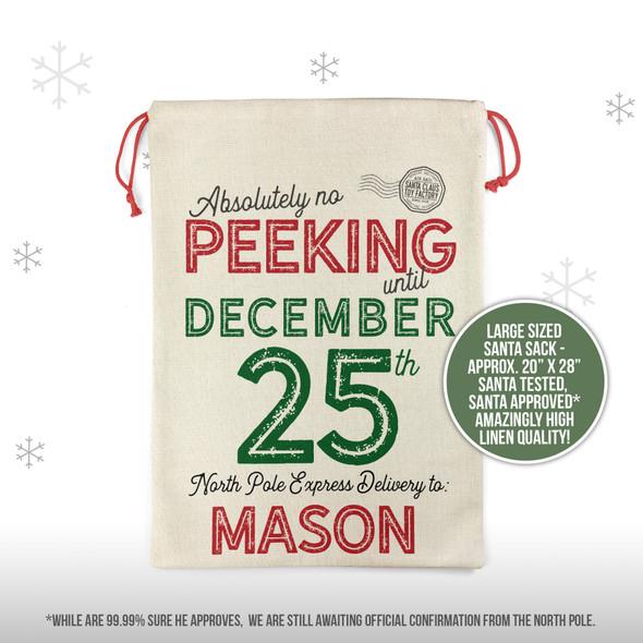 Christmas no peeking north pole express delivery personalized santa sack