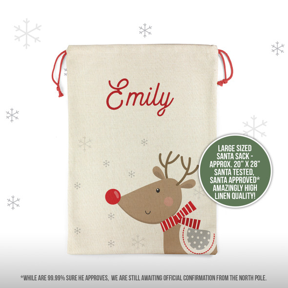 Christmas red nosed reindeer personalized santa sack