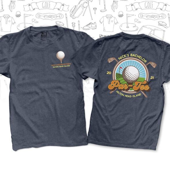 Bachelor par-tee golf trip personalized DARK Tshirt