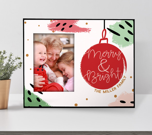 Christmas merry & bright personalized holiday photo frame