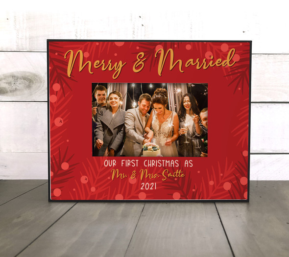 First Christmas as mr. & mrs. merry & married personalized photo frame