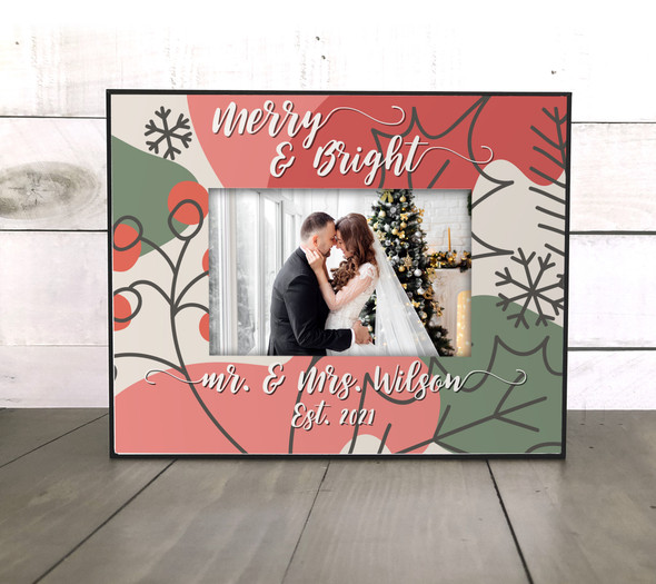 Merry & Bright mr. & mrs. personalized holiday photo frame