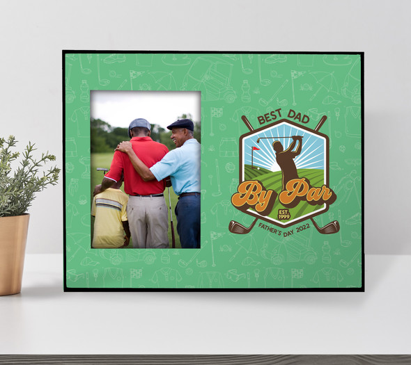 Fathers Day best dad by par golf personalized photo frame