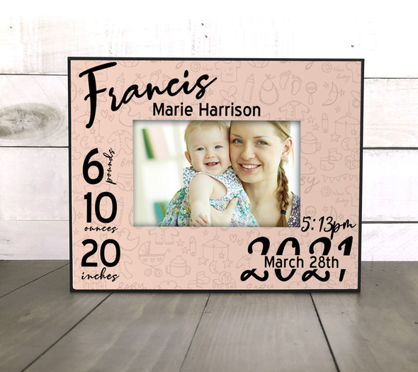 Baby girl birth announcement stats personalized photo picture frame