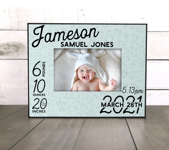 Baby boy birth announcement stats personalized photo picture frame