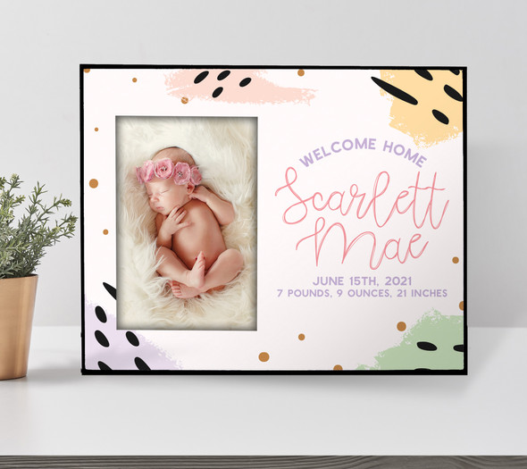 Welcome home baby birth statistics personalized photo picture frame