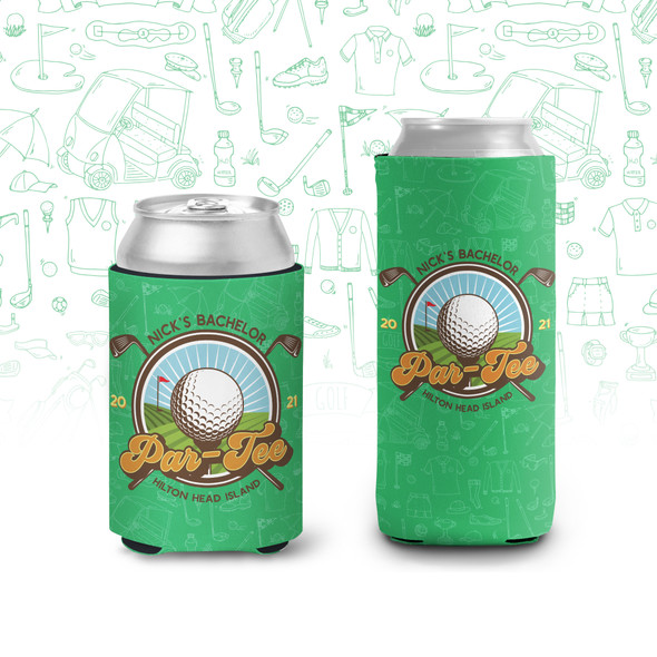 Bachelor par-tee golf trip personalized can coolies