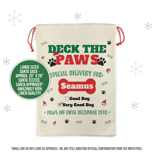 Deck the paws special delivery very good boy personalized santa sack for pets