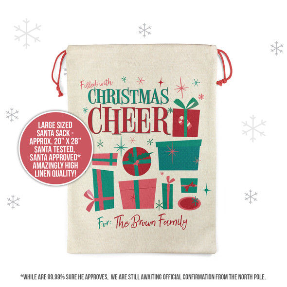 Filled with Christmas cheer holiday gifts personalized family santa sack