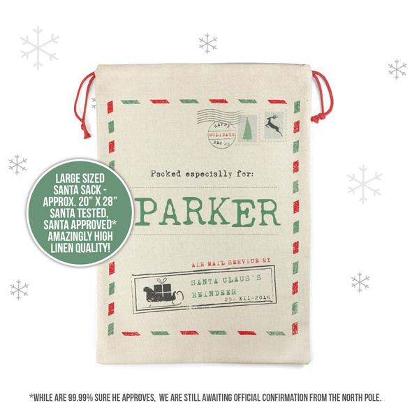 Happy Holidays postmark personalized santa sack