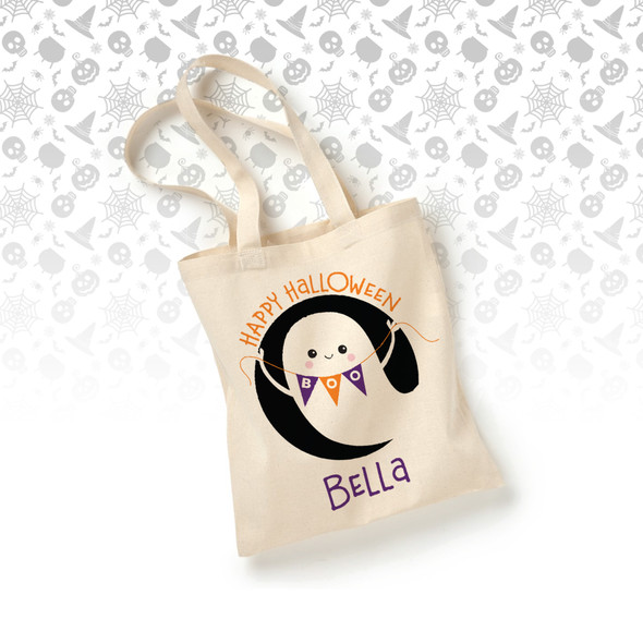 Trick or treat happy halloween ghost personalized tote bag