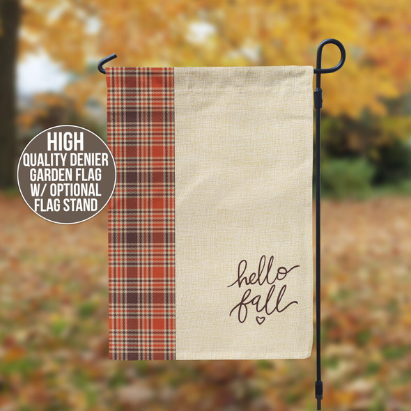 hello fall autumn plaid colors garden flag with stand option