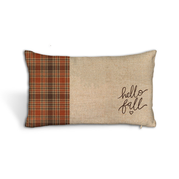 hello fall autumn plaid colors faux burlap lumbar throw pillowcase pillow