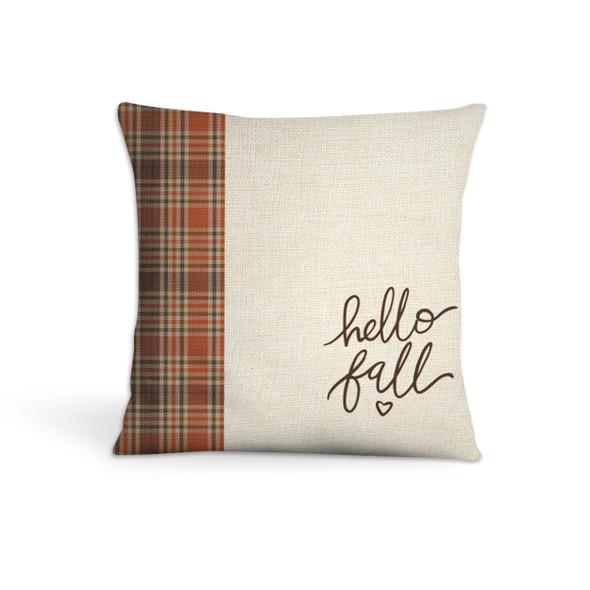 hello fall autumn plaid colors throw pillowcase pillow
