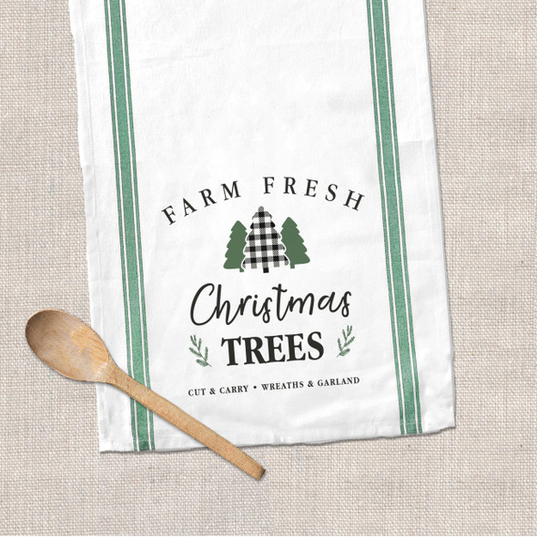 Christmas farm fresh Christmas trees decorative green stripe tea towel