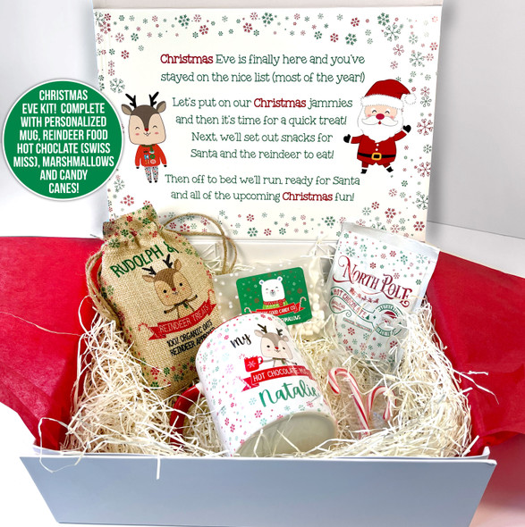 Christmas eve kit personalized treat box for kids with goodies and mug options