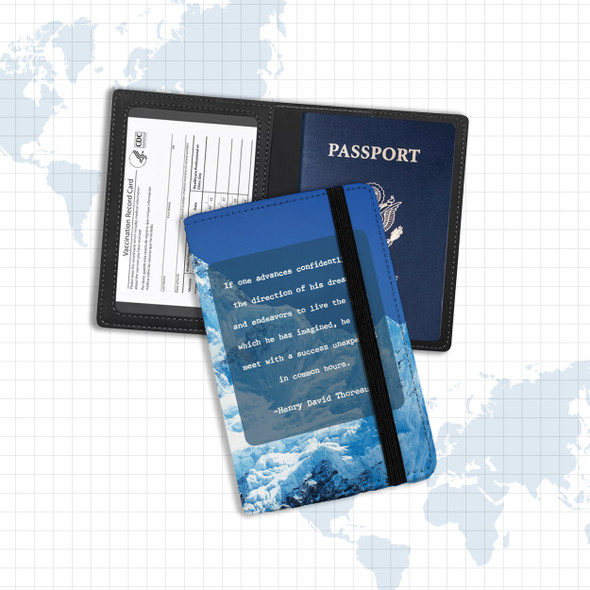 Vaccine and passport holder with Henry David Thoreau quote