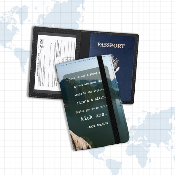 Vaccine and passport holder with Maya Angelou quote