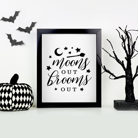 Funny Halloween moons out brooms out canvas hardboard print with white or black frame