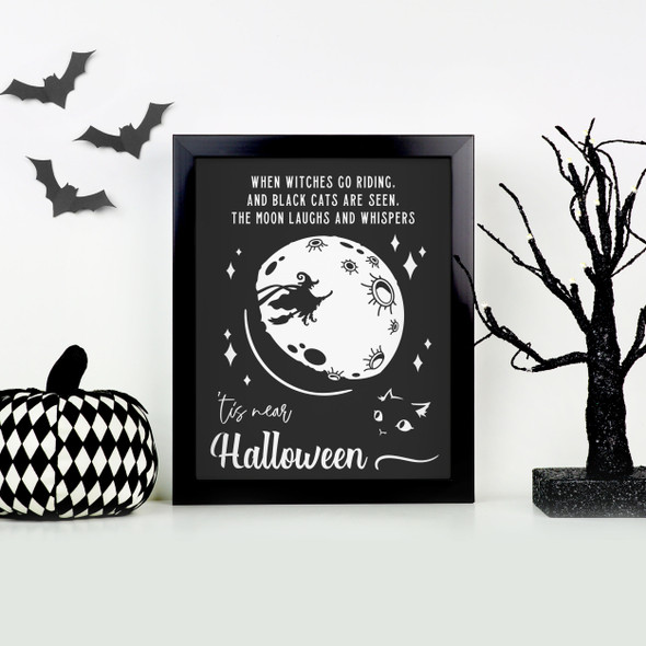 When witches go riding 'tis near Halloween canvas hardboard print with white or black frame