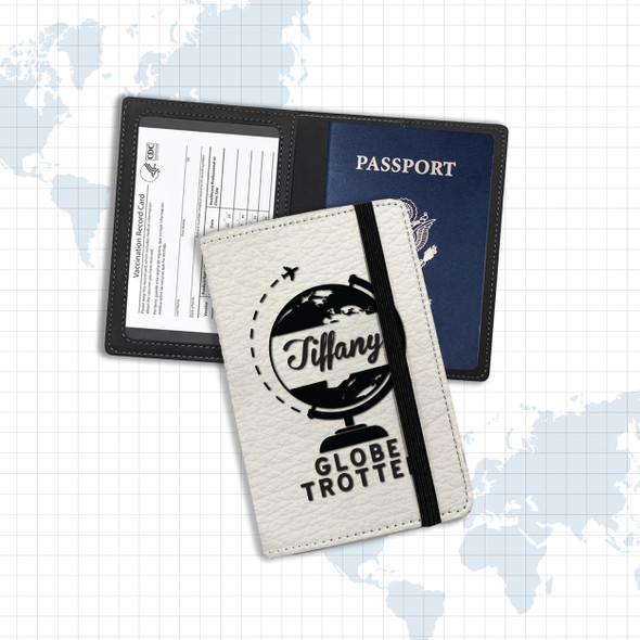 Globe trotter personalized vaccine and passport holder