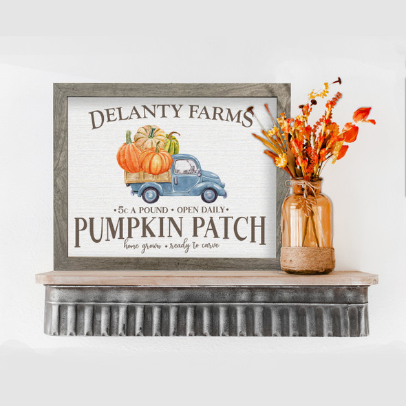 Fall pumpkin patch farm personalized canvas print sign with optional frame