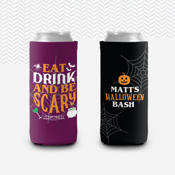 Halloween bash eat drink and be scary personalized slim or regular size can coolie