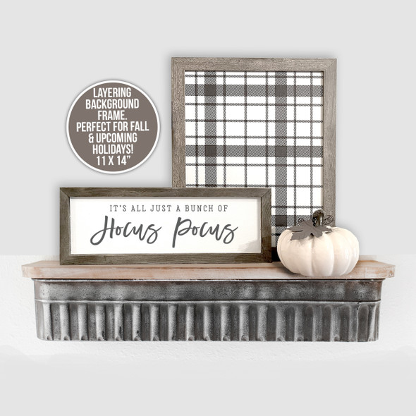 Holiday black and white buffalo plaid layering canvas sign frame for multi frame display