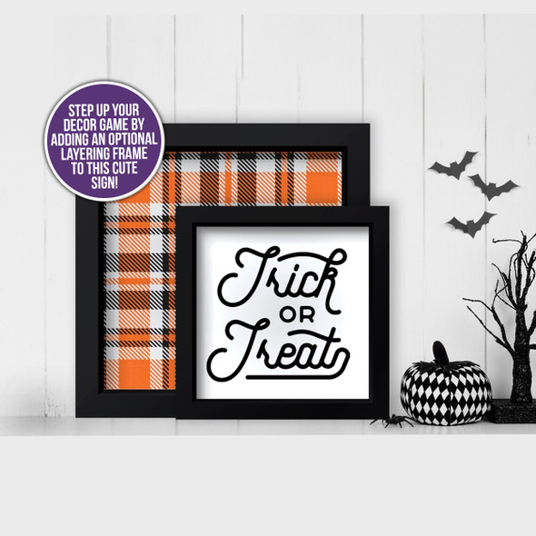 Halloween trick or treat and plaid layering frames for multi display canvas signs