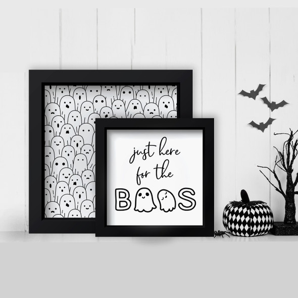 Halloween just here for the boos and ghost design layering frames for multi display canvas signs