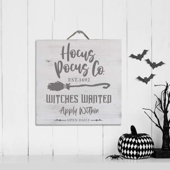 Halloween hocus pocus co. witches wanted white wash or gray wash wood  sign