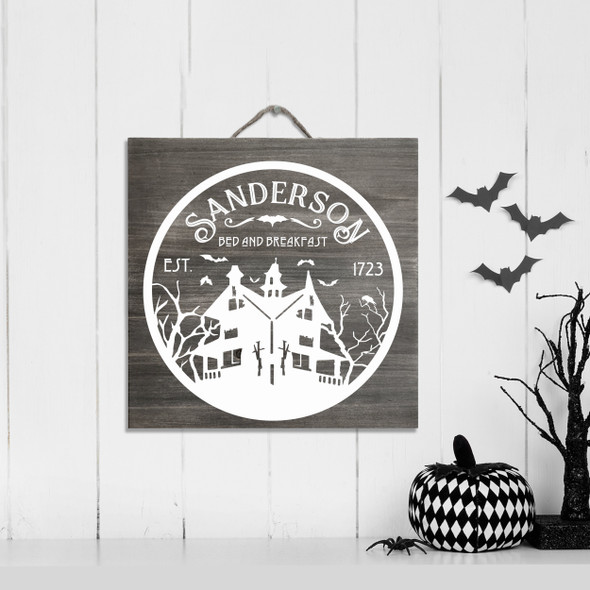 Sanderson bed and breakfast funny halloween white wash or gray wash wood sign