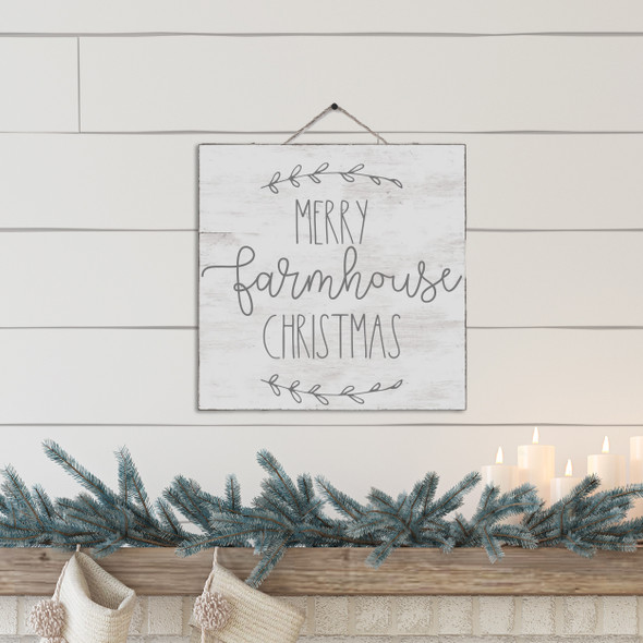 Merry farmhouse Christmas white wash or gray wash wood sign