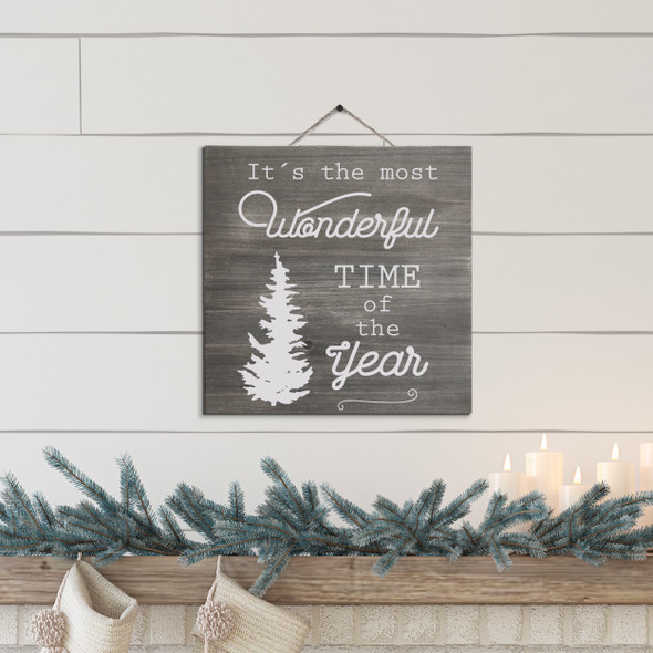 Christmas it's the most wonderful time of the year white wash or gray wash wood sign