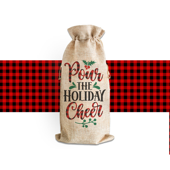 Christmas pour the holiday cheer wine bottle tote