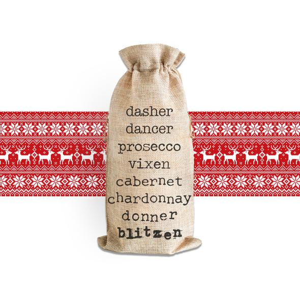Funny wine list christmas reindeer names wine bottle tote