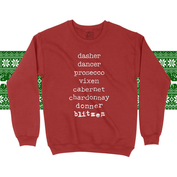 Christmas reindeer names wine list adult unisex sweatshirt