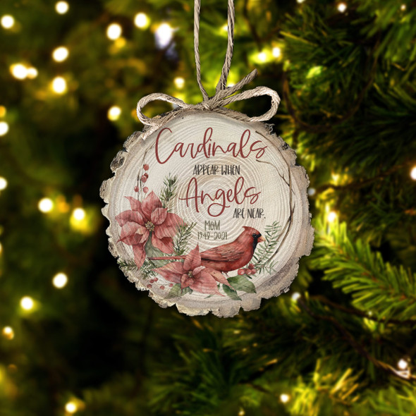 Cardinals appear when  angels are near memorial cut pine wood ornament