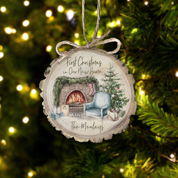 First Christmas in our new home fireplace personalized wood slice ornament