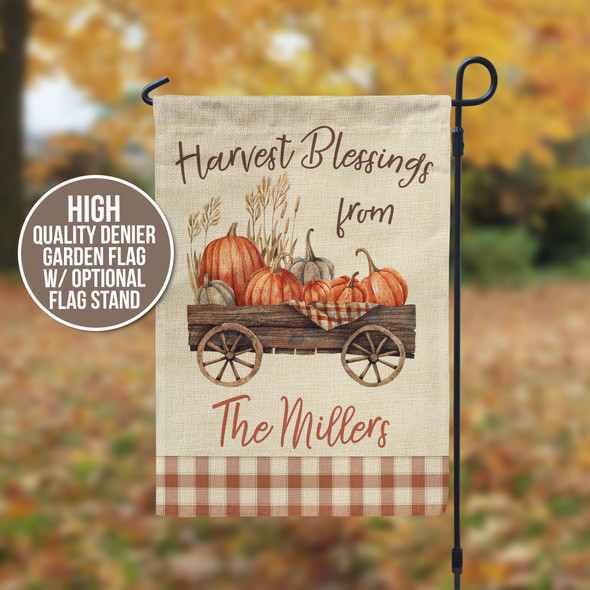 Harvest blessings pumpkin cart personalized garden flag with stand option