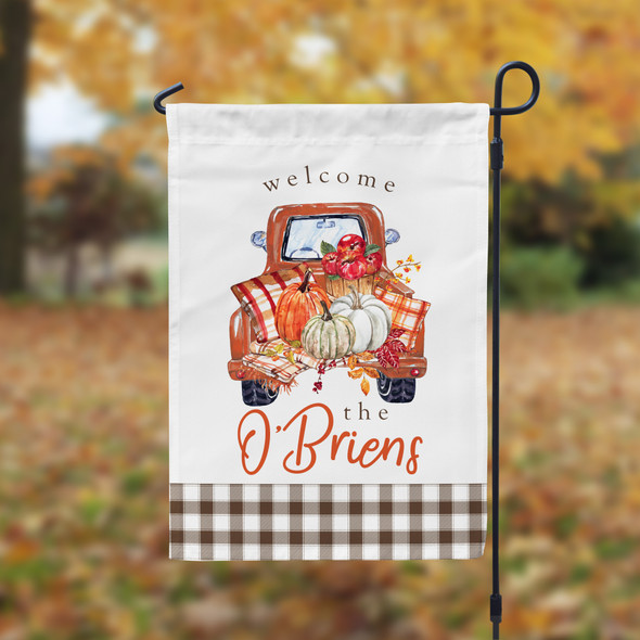 Welcome vintage pickup truck with pumpkins personalized garden flag with stand option