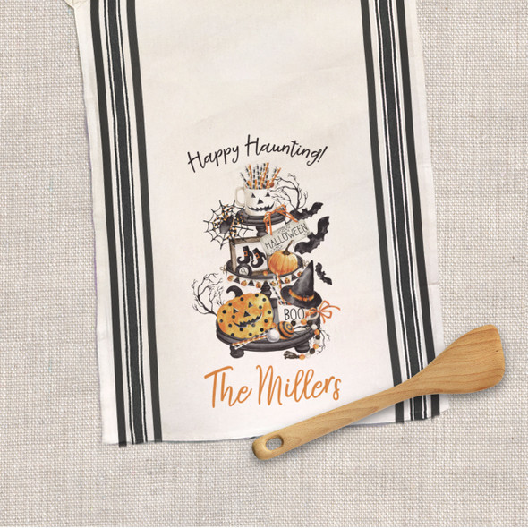 Halloween happy haunting personalized decorative tea towel