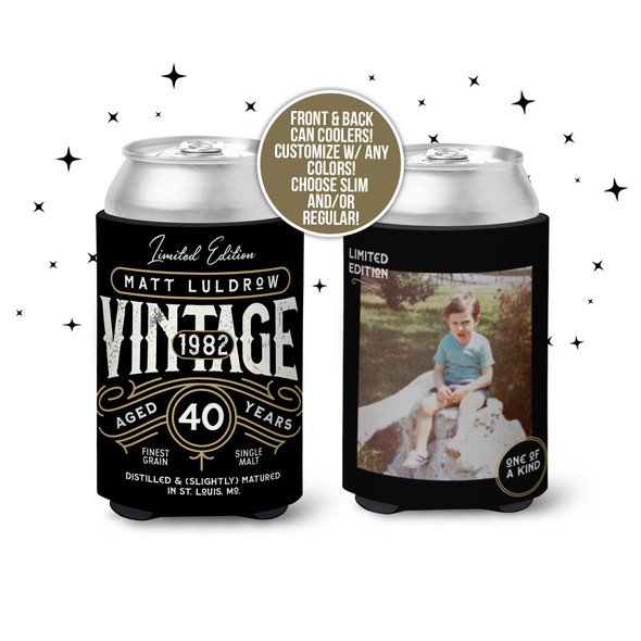40th birthday vintage limited edition whiskey bourbon label any age photo can coolie