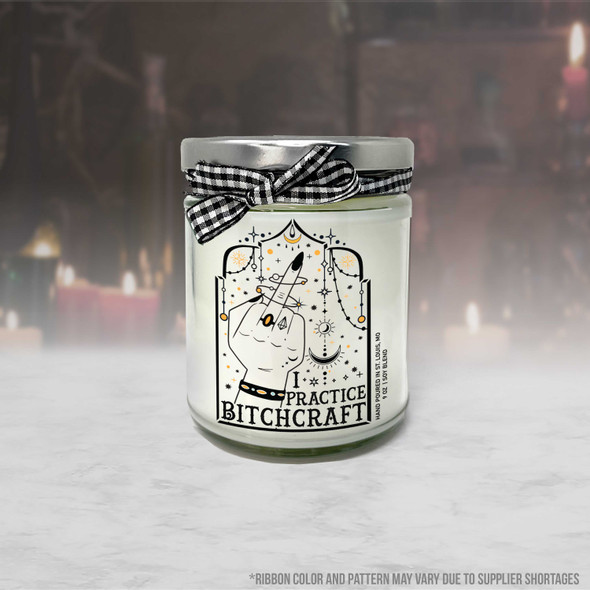 Funny halloween witchcraft pun I practice bitchcraft soy blend wax candle