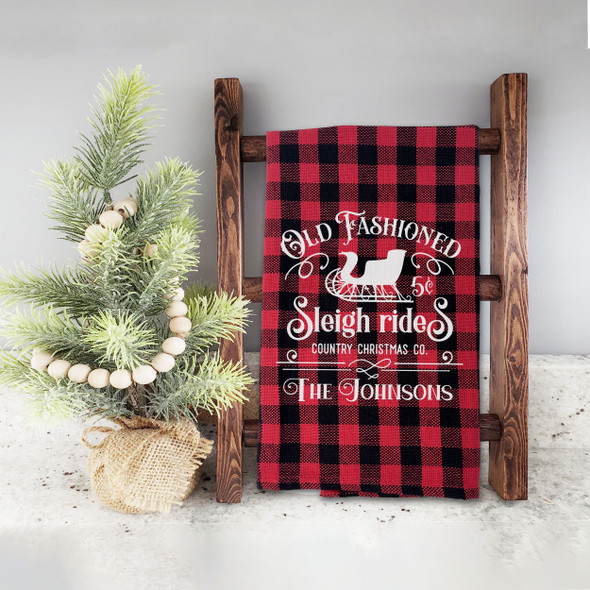 Christmas old fashioned sleigh rides red buffalo plaid personalized decorative tea towel