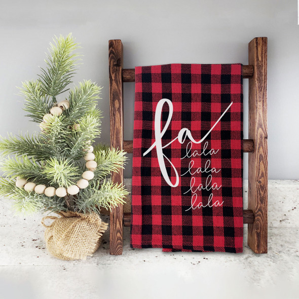 Christmas fa lala lala red buffalo plaid decorative holiday tea towel