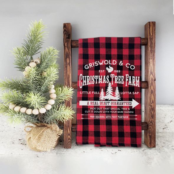 Griswold & Co christmas tree farm real beaut red buffalo plaid holiday tea towel
