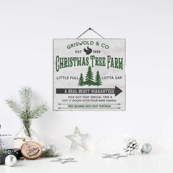 Griswold & Co christmas tree farm a real beaut white wash or gray wash wood sign